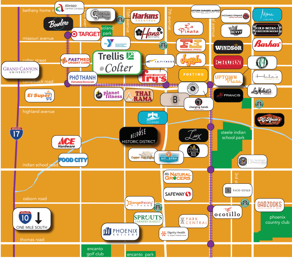 Map of great restaurants and stores around Trellis@Colter